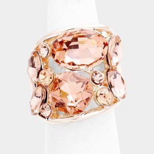 Oval Crystal Stretch Ring